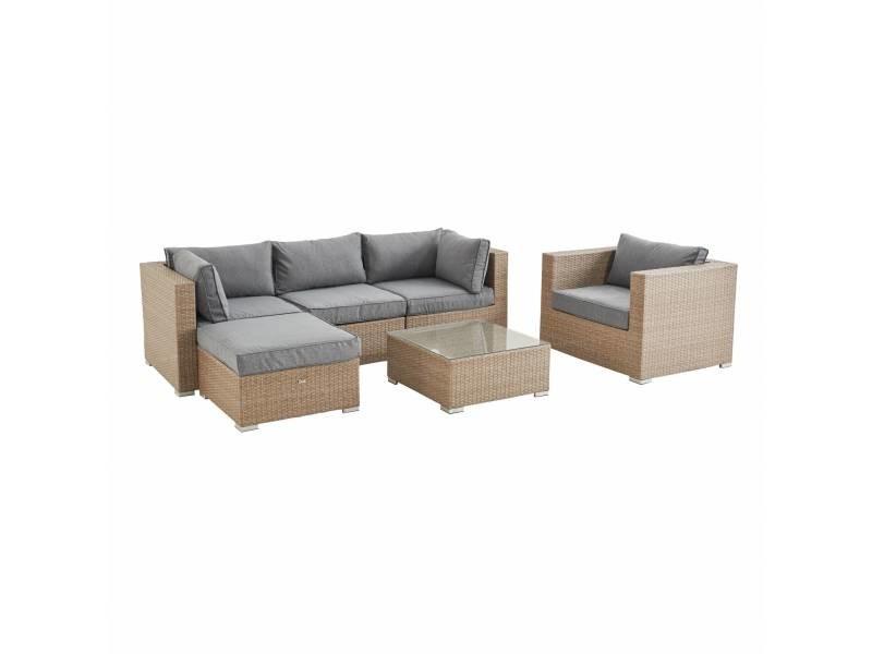 Salon de jardin en résine tressée - caligari - beige coussins gris clair chiné - 5 places - 1 fauteuil. 1 fauteuil sans accoudoir. 1 pouf. 2 fauteuils d'angle. Une table basse