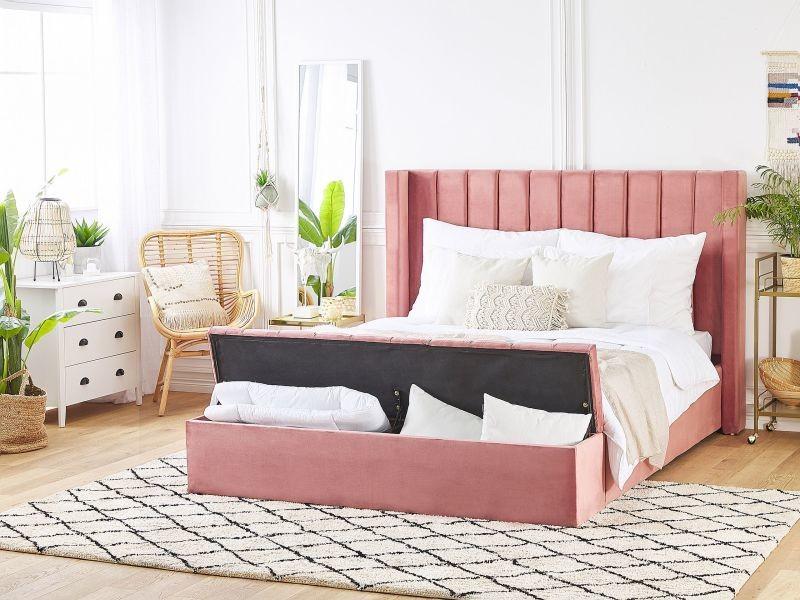 Lit double en velours rose avec banc coffre 160 x 200 cm noyers 215204