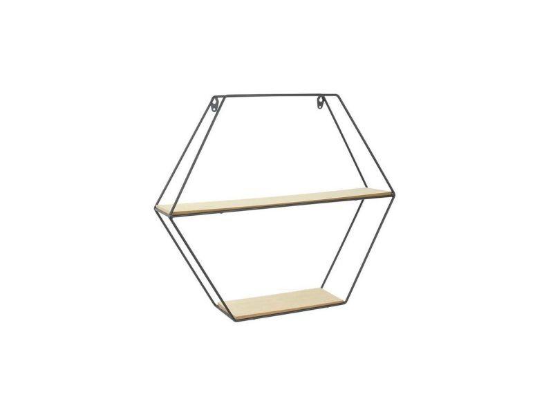 The home deco factory étagere hexagonale en bois et métal - 46 x 10 x 40 cm - noir et beige