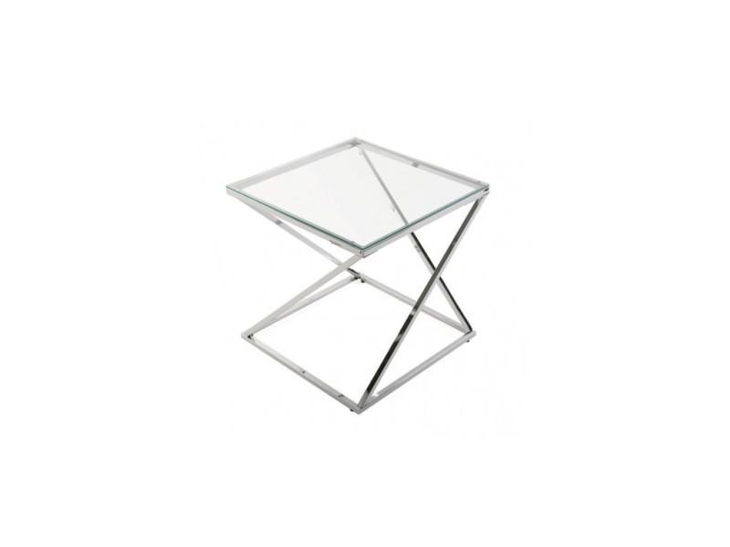 Table d'appoint design verre et acier trento