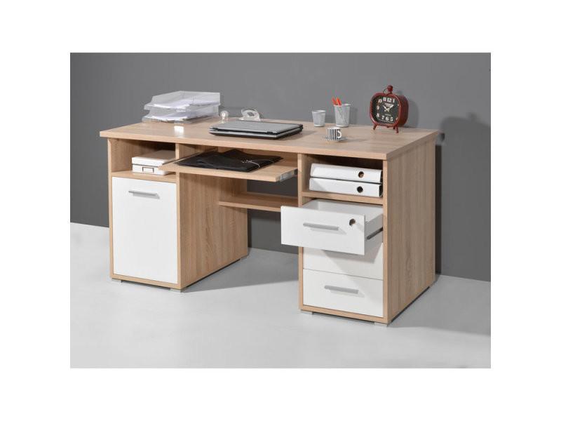 Bureau informatique en bois chêne avec caisson tiroirs niches