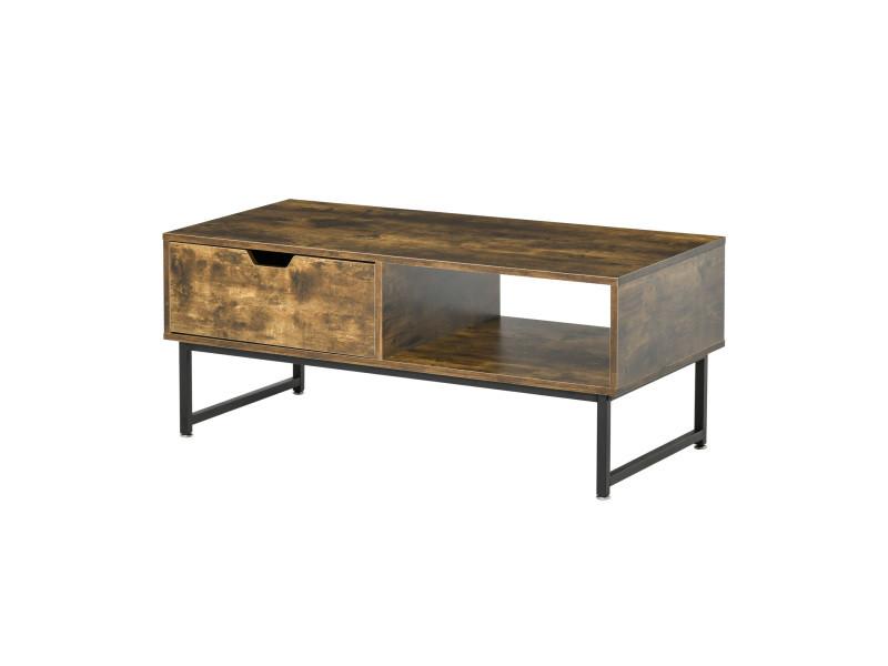 Table basse rectangulaire design industriel niche tiroir coulissant métal noir panneaux particules aspect vieux bois veinage