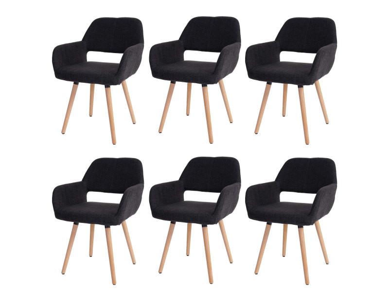 6x chaise de salle à manger hwc-a50 ii, fauteuil, design rétro des années 50 ~ tissu, gris foncé