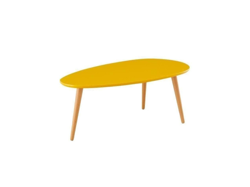 Stone Table Basse Ovale Scandinave Jaune Moutarde Laque L 88 X L