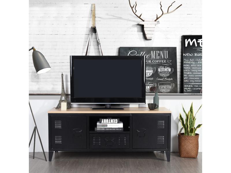 Meuble tv bois & métal avec 1 niche + 2 portes - style industriel noir