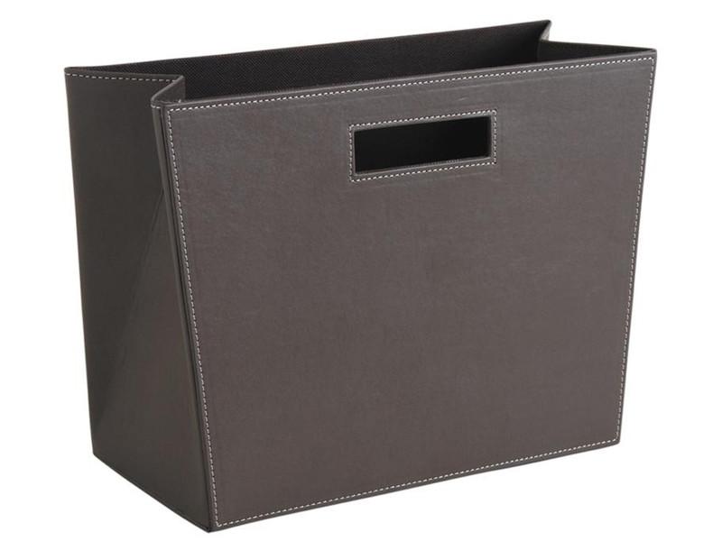 Porte-revues rectangulaire en polyuréthane taupe, 36 x 16 x 25 cm -pegane-