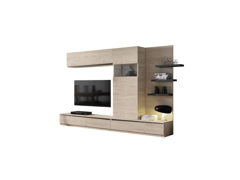 Composition meuble tv bois clair/bois noir - camelia n°1 - l 292 x l 45 x h 180 - neuf