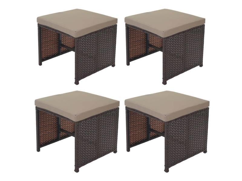 4x tabouret en polyrotin kreta set lounge de jardin, 36x40cm noir, coussin beige