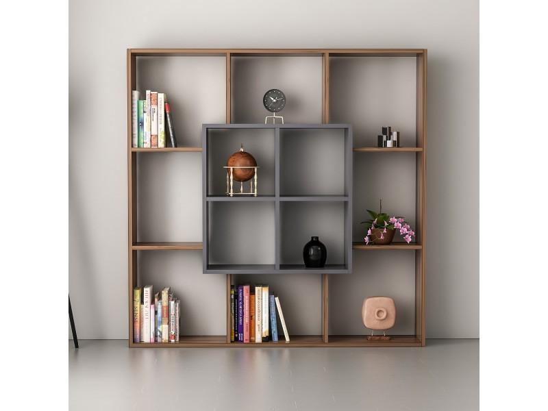 Homemania bibliothèque leef avec étagères, meuble de rangement - pour salon, bureau - noyer ...