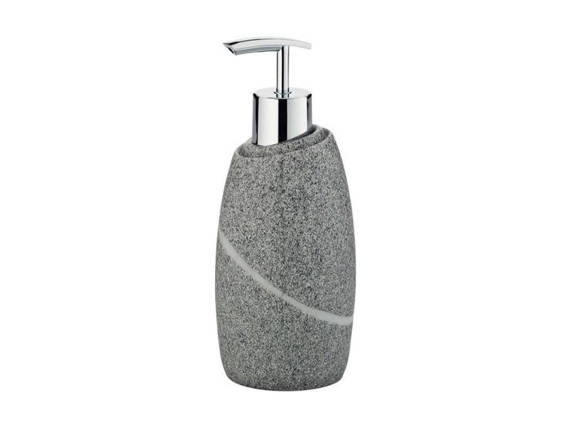 Distributeur de savon gris en polyester aspect pierre naturelle