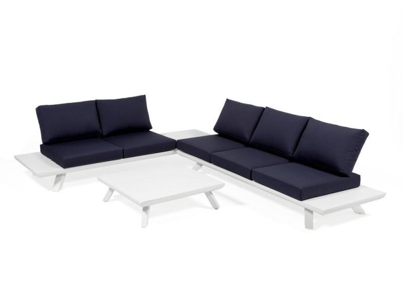 Salon bas de jardin 3 élements en aluminium blanc et bleu corfou ...