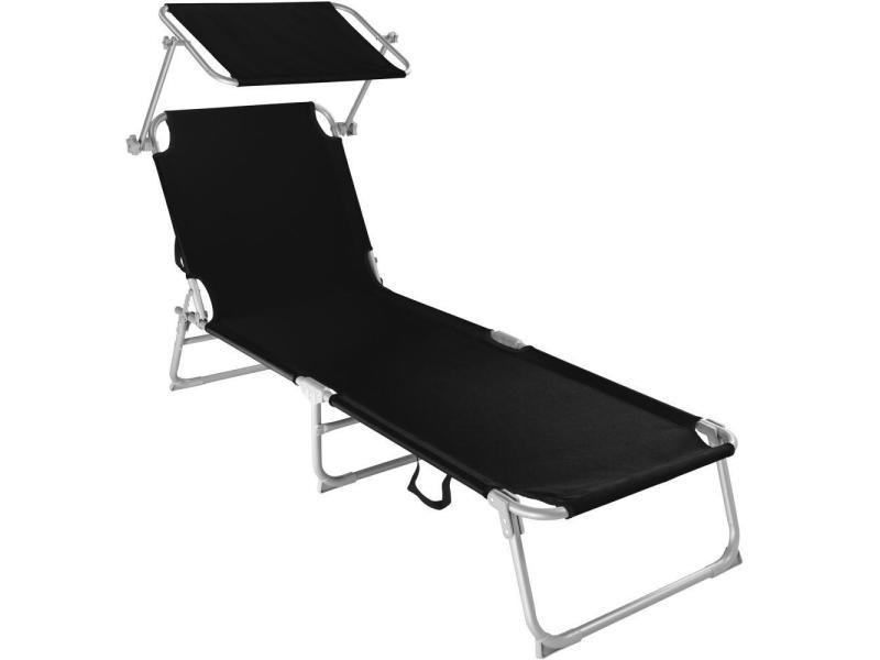 Transat bain de soleil meuble jardin acier noir helloshop26 2208100