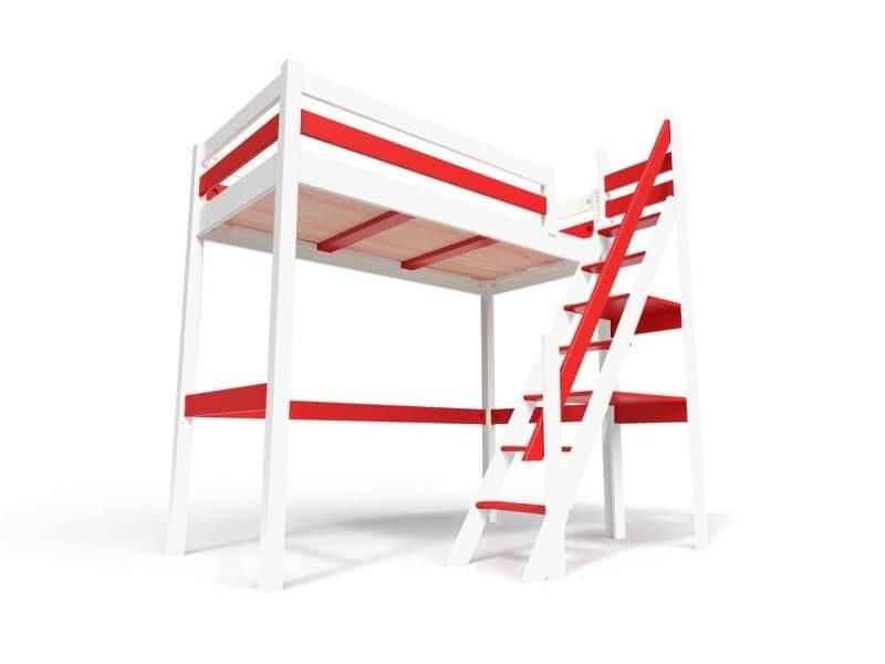Lit mezzanine sylvia avec escalier de meunier bois 90x200 blanc/rouge 1130-BR