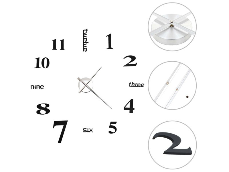 Vidaxl horloge murale 3d design moderne 100 cm xxl noir 50635