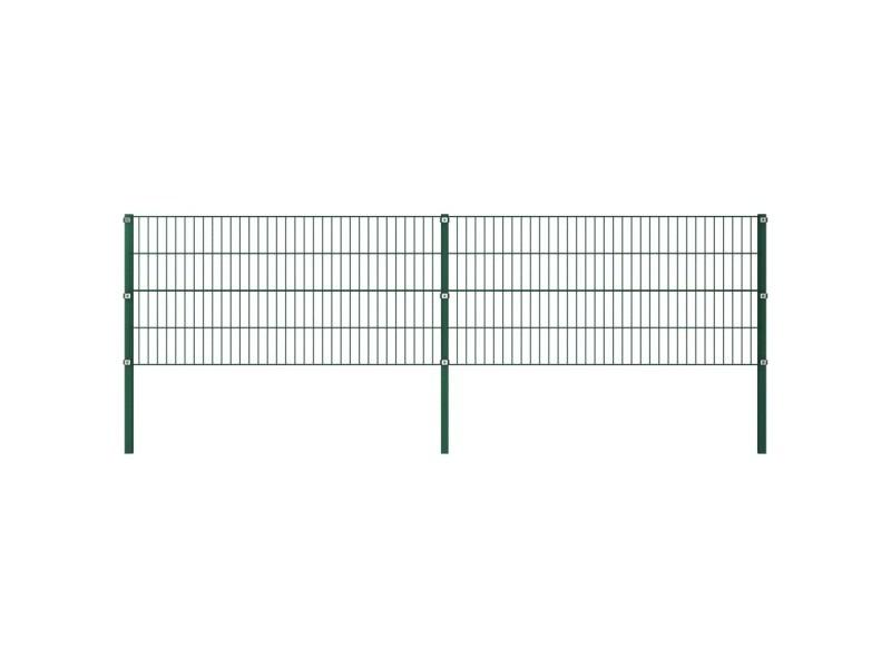 Esthetique clôtures et barrières ensemble tarawa-sud panneau de clôture avec poteaux fer 3,4 x 0,8 m vert
