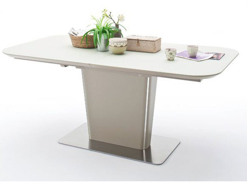 Table à manger extensible laqué taupe mat - 140-180 x 76 x 85 cm -pegane-