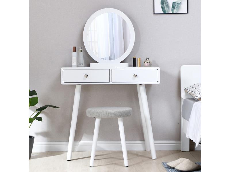Coiffeuse style moderne blanc - table de maquillage hombuy avec miroir rond et tabouret 80 * 40 * 125 cm
