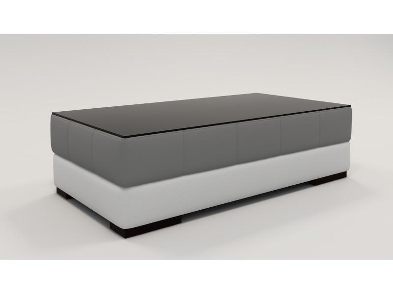 Table basse rectangle gris et banc lila-