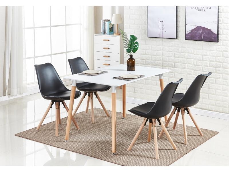 Table blanche et 4 chaises noires scandinaves - sophie halo