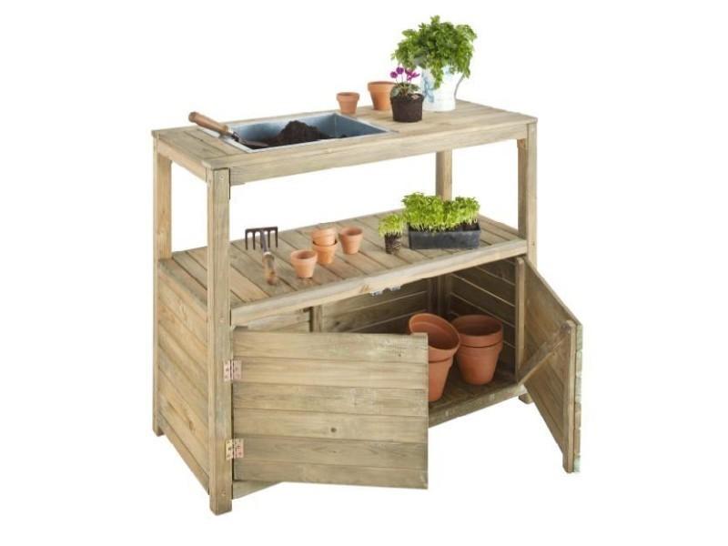 Jardipolys - table de préparation en bois avec 2 portes