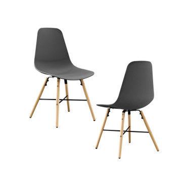 Kit de 2 chaise de salle manger gris plastique - Conforama table et chaise salle a manger ...