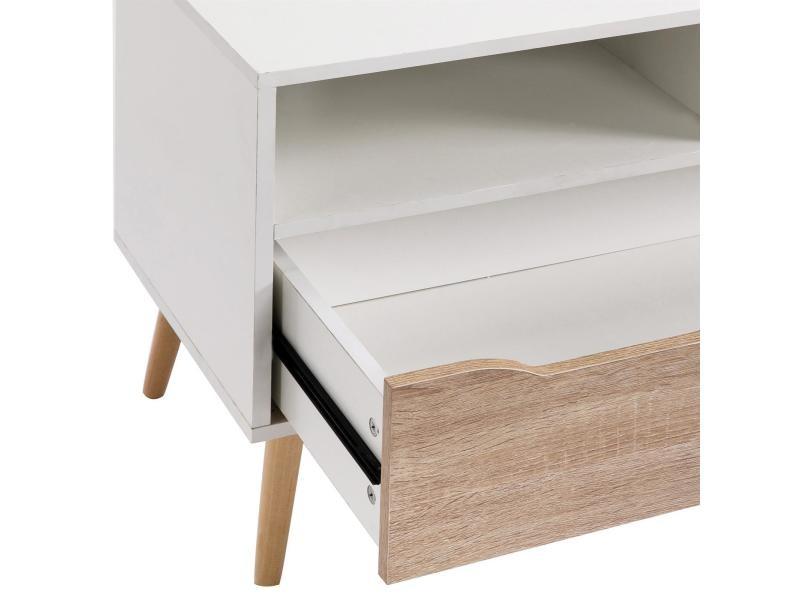 Meuble tv genova banc t l vision design avec 1 tiroir et 2 - Meuble melamine blanc ...