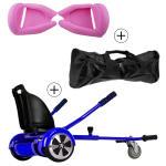 Accessoire hoverboard 6,5 pouces :  pack essentiel 3 en 1 : hoverkart bleu +  coque/housse silicone rose +  sac de transport