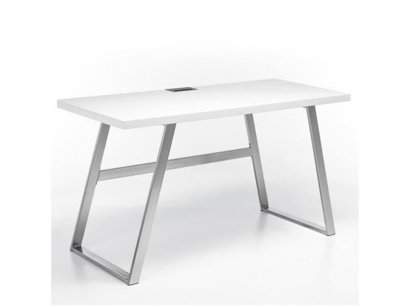 Bureau alina laqué blanc mat piétement métal brossé 20100889781