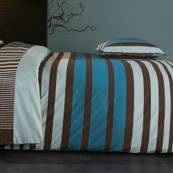 Housse de couette 140x200 cm percale pur coton stripe bleu