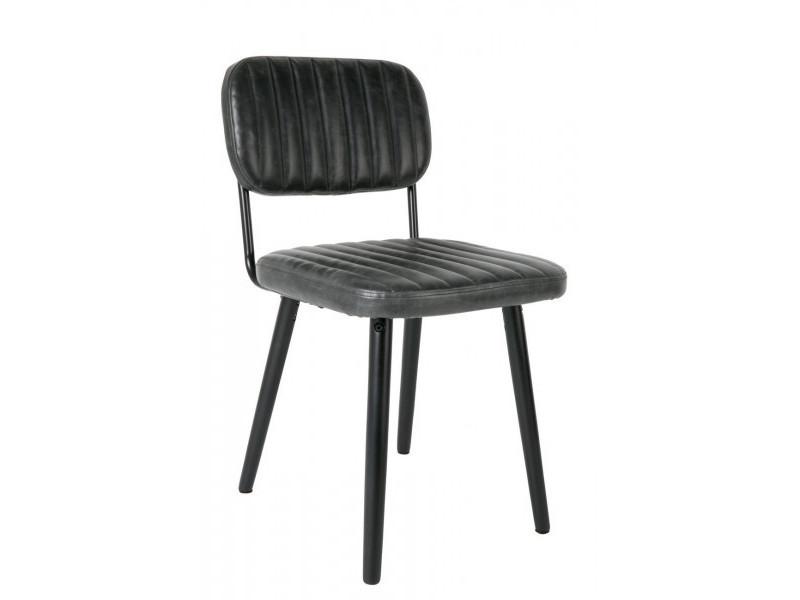 Jeka - chaise de table aspect cuir noir