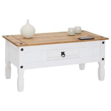 Table Basse Campo Table D Appoint Rectangulaire En Pin Massif Blanc Et Brun Avec 1 Tiroir Meuble De Salon Style Mexicain En Bois Vente De Idimex Conforama