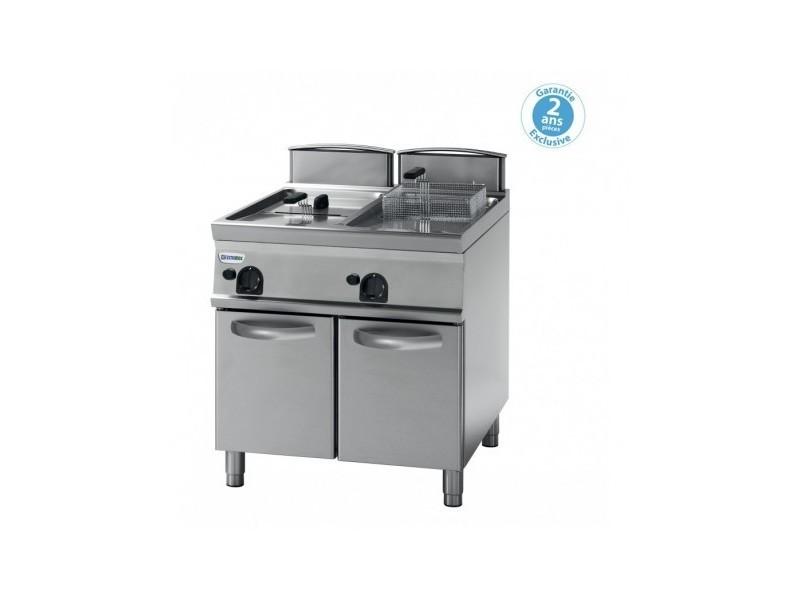 Friteuse sur coffre gaz avec cuve en v - 2 x 13 litres - tecnoinox -