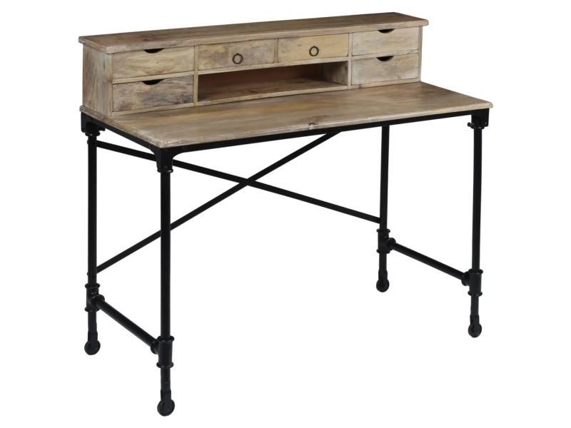 Sublime meubles de bureau edition kiev bureau bois de manguier massif et acier 110 x 50 x 96 cm