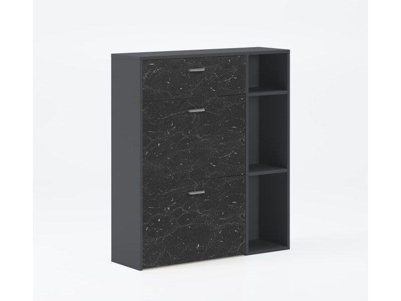 Meuble chaussures wind, struct.coul.gr.foncé, coul.marbre noir mat 2p.bascul+tiroir,90x26x101,5