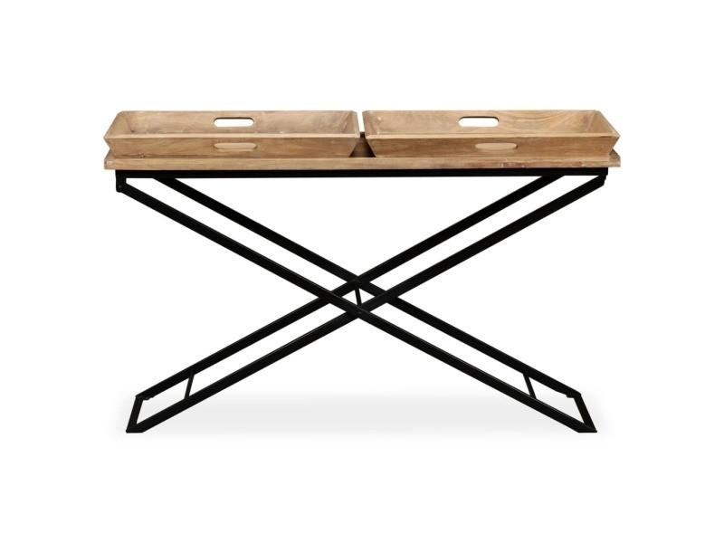 Vidaxl table console bois de manguier massif 130 x 40 x 80 cm 244897