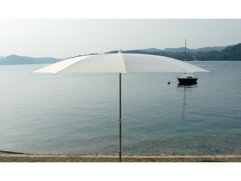Parasol rond centré coloris blanc, h 2.50/2.90m x 300 /10 baleines -pegane-