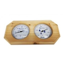 Thermomètre hygromètre en bois pour sauna  fond blanc