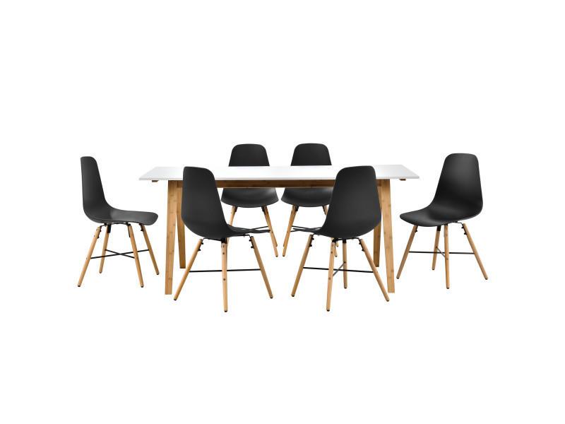 En Casa Table A Manger Blanc Avec 6 Chaises Noir 180x80 Table De
