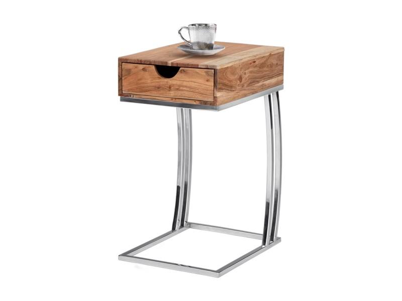 Table d'appoint womo-design avec tiroir, naturel/argenté, 30x39x59 cm, rectangulaire, en bois de manguier massif et acier inoxydable 390003277