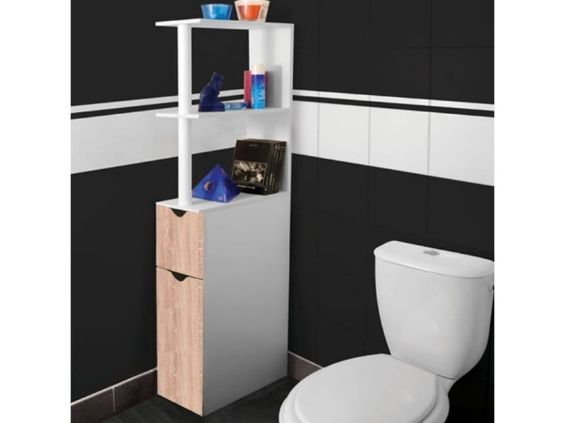 meuble wc tag re bois gain de place pour toilette 2 portes h tre vente de id market conforama. Black Bedroom Furniture Sets. Home Design Ideas