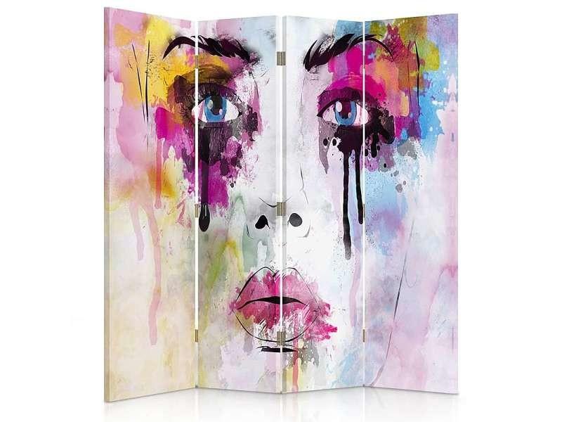 Paravent 4 volets avec les taches de peinture visage 1 coté PAR/4CZ-1S/M_31076/145x180