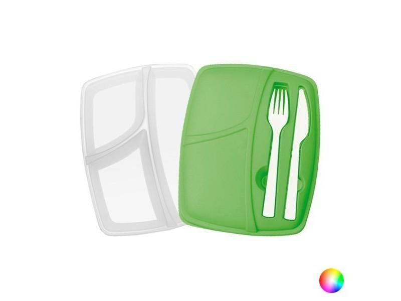 Boîte à déjeuné avec couverts - lunch box avec fourchette et couteau boîte repas couleur - rouge