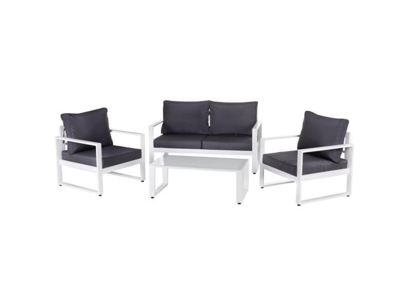 Salon de jardin 5 places en aluminium blanc et coussins gris + table ...