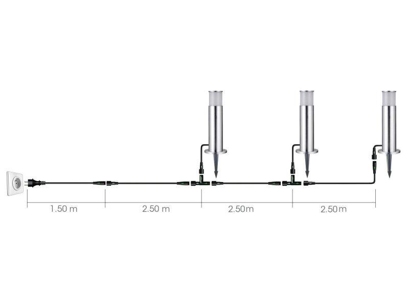 Set de 3 bornes inox luxe, ampoules e27 fournies, blanc chaud, 3 x 5w, 3 x 420 lumens, 3000k, ip44, classe ii