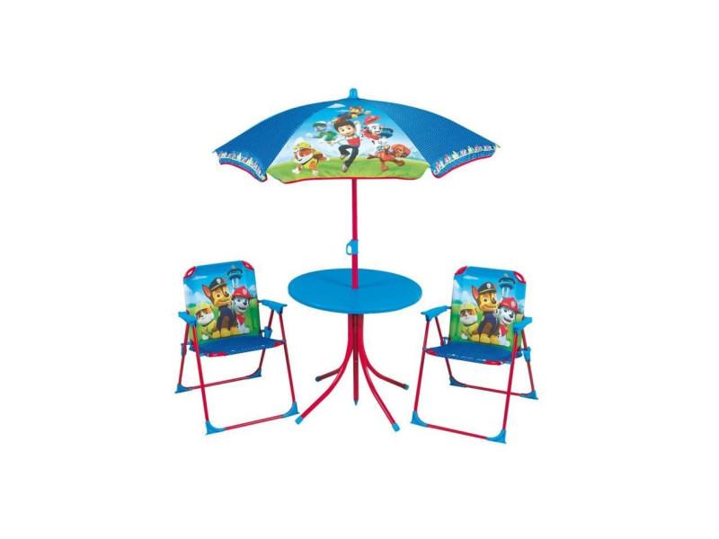 Pat patrouille salon de jardin composé d'une table, de 2 chaises pliables et un parasol pour enfant AUC3700057124991