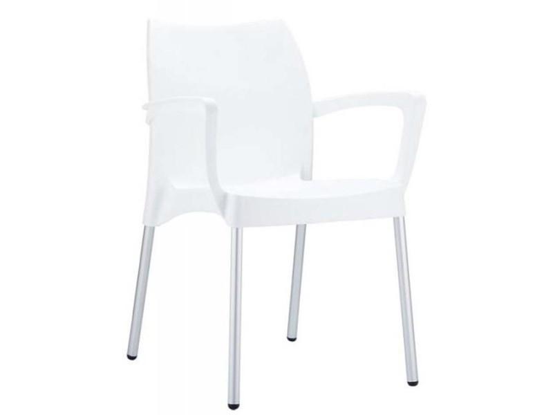 Chaise de jardin empilable en plastique, blanc -pegane