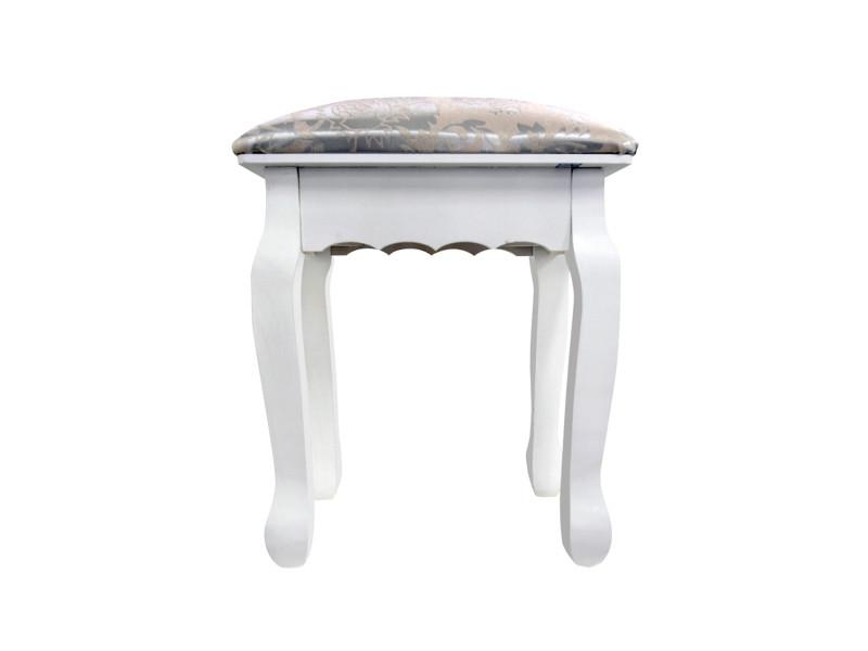 Mobili rebecca tabouret decore bois blanc argent francais provencal 42x40x30