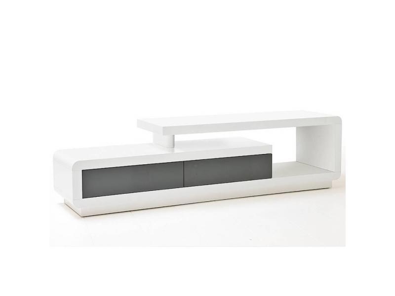 Meuble tv design corto 2 tiroirs finition laquée blanc et gris brillant 20100871984