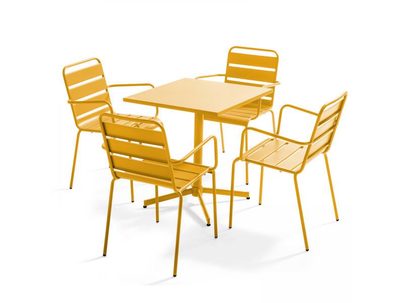 Table de jardin bistrot carrée rabattable et 4 fauteuils en métal palavas 4 places acier jaune