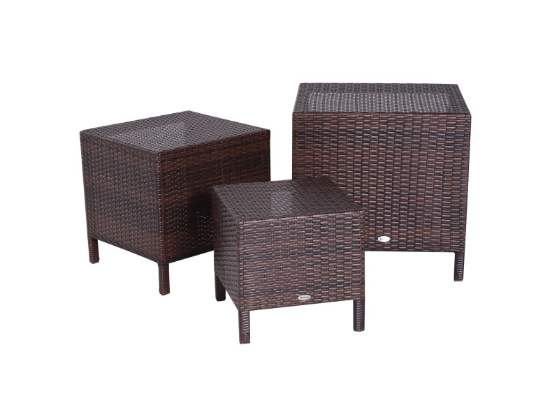 Tables basses gigognes de jardin style cosy chic lot de 3 tables basses encastrables résine tressée imitation rotin marron